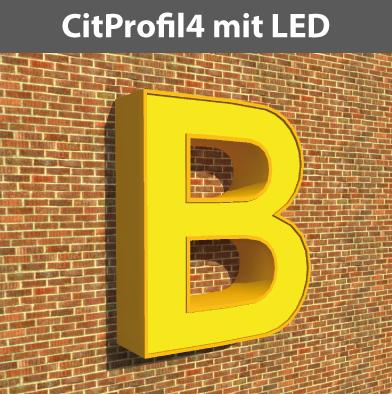 Profil4 Buchstaben mit Kante, mit LED