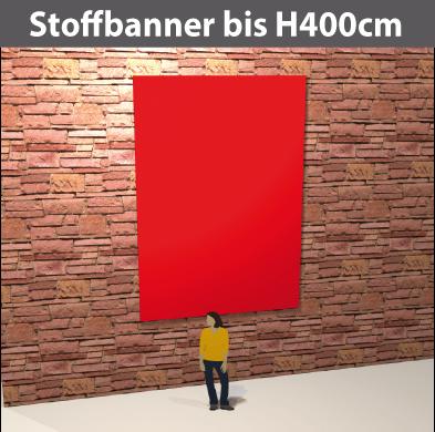 Stoff-Banner bis H400cm aus leichten Stoff, umsäumt, geoest