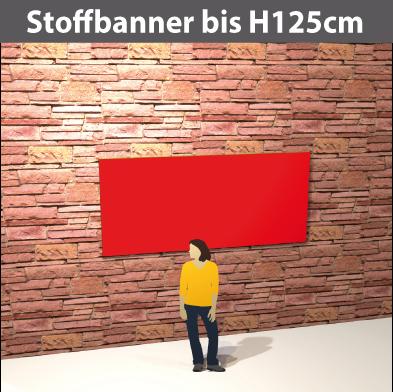 Stoff-Banner bis H125cm aus leichten Stoff, umsäumt, geoest