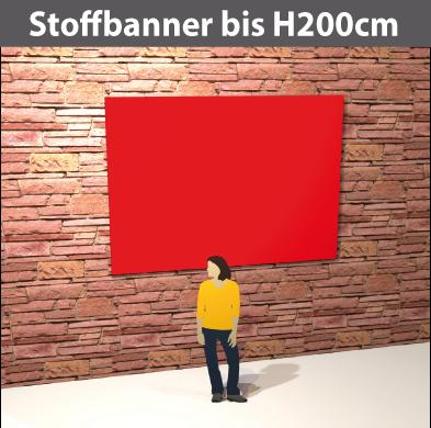 Stoff-Banner bis H200cm aus leichten Stoff, umsäumt, geoest
