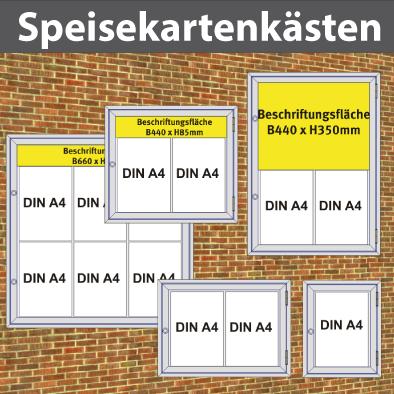 Citmax-DIN A4 Speise-u. Getränkekartenkästen und Wandhalter bis 8xA4