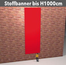 Stoff-Banner bis H1000cm aus leichten Stoff, umsäumt, geoest