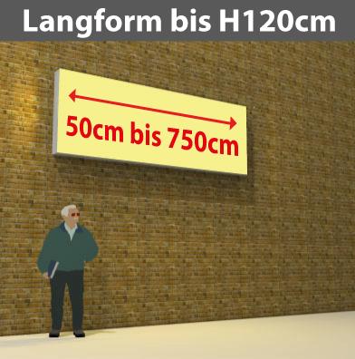 Wandtransparente Langform bis H120cm