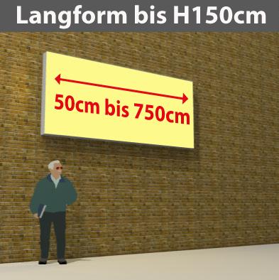 Wandtransparente Langform bis H150cm
