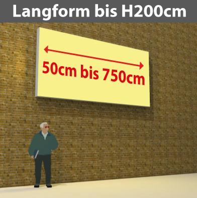 Wandtransparente Langform bis H200cm