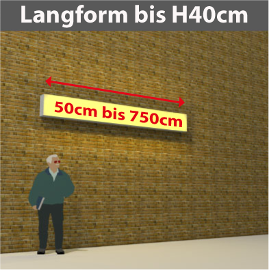 Wandtransparente Langform bis H40cm