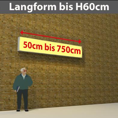 Wandtransparente Langform bis H60cm
