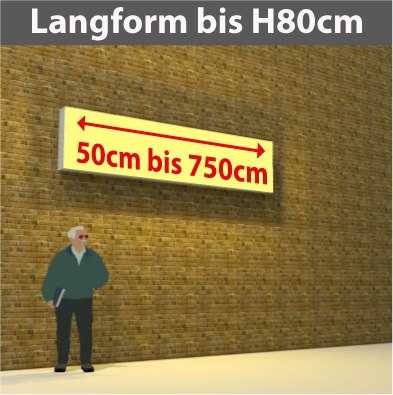Wandtransparente Langform bis H80cm
