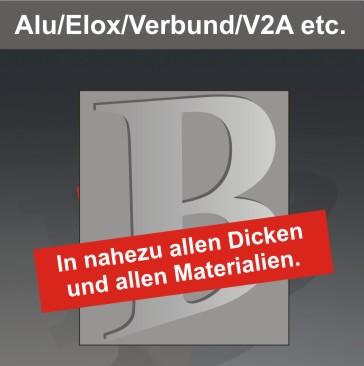 Alu- und Aluverbundbuchstaben, V2A, V4A, Papier, Pappe, Stahl, Messing, etc., unbeleuchtet