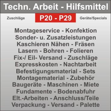 Projekt-Hilfsmittel - Strahler - Elt.- Anschluss - Montagezusatzkosten - Verpackung - Versand