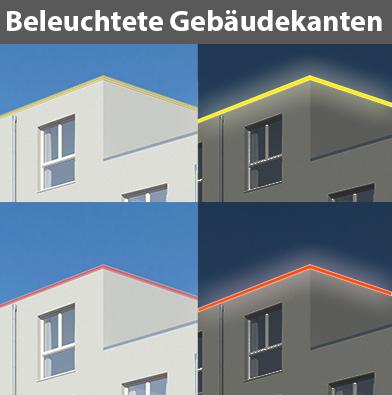 Lichtbalken, beleuchtete Gebäudekanten